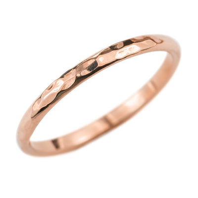 2mm Wide x 1.5mm Thick, 14k Rose Gold Half Round Wedding Band, Hammered Polished - Point No Point Studio - 1
