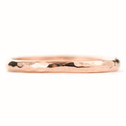 2mm Wide x 1.5mm Thick, 14k Rose Gold Half Round Wedding Band, Hammered Polished - Point No Point Studio - 3
