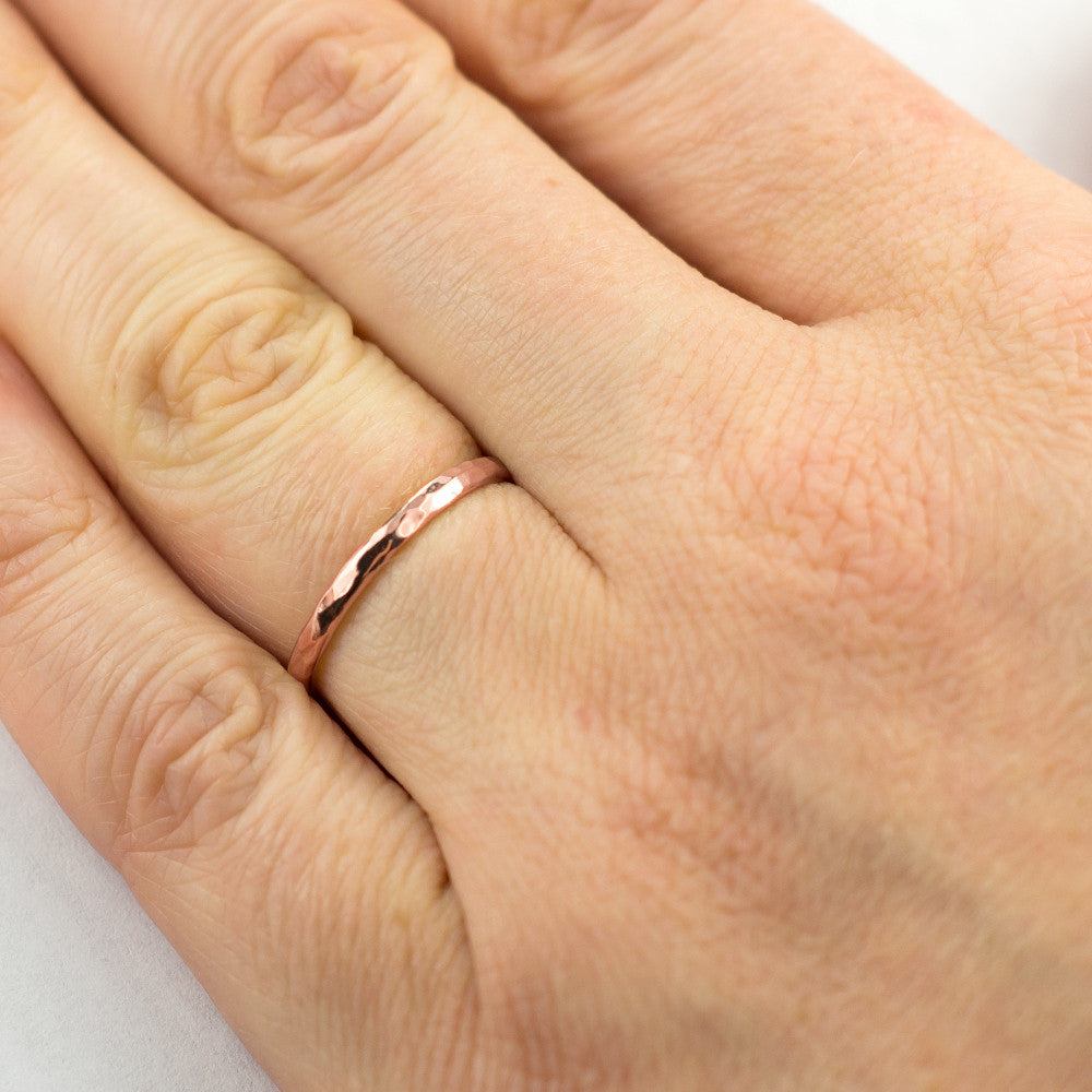 2mm Wide x 1.5mm Thick, 14k Rose Gold Half Round Wedding Band, Hammered Polished - Point No Point Studio - 4