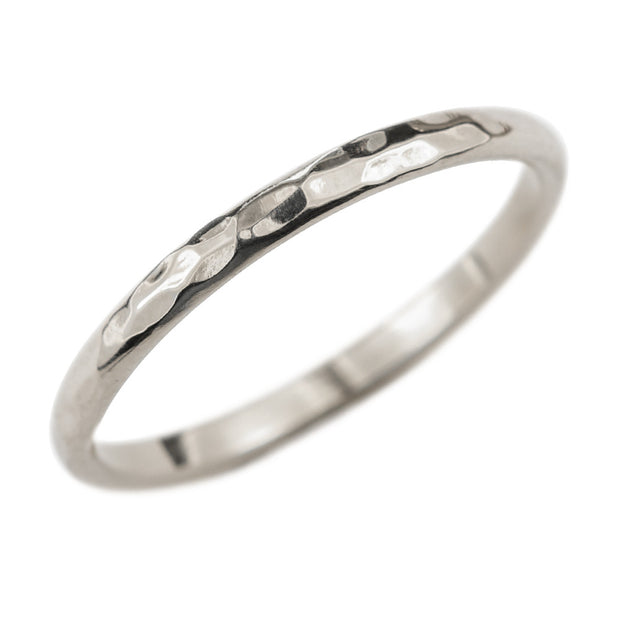 2mm Wide x 1.5 mm Thick, 14k White Gold Half Round Wedding Band, Hammered Polished - Point No Point Studio - 1