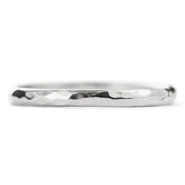 2mm Wide x 1.5 mm Thick, 14k White Gold Half Round Wedding Band, Hammered Polished - Point No Point Studio - 3