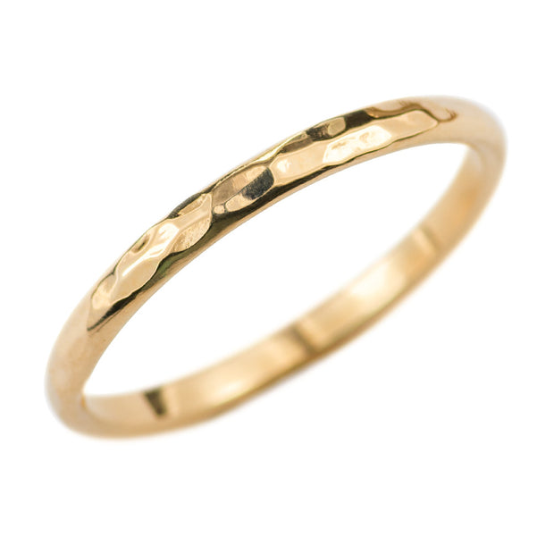 2mm Wide x 1.5mm Thick, 14k Yellow Gold Half Round Wedding Band, Hammered Polished - Point No Point Studio - 1