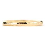2mm Wide x 1.5mm Thick, 14k Yellow Gold Half Round Wedding Band, Hammered Polished - Point No Point Studio - 3