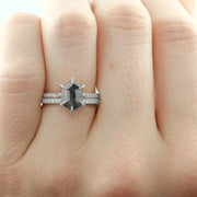 14K White Gold Vintage Inspired Diamond Wedding Band, Jamie Style - Point No Point Studio - 6