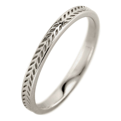 Eco Friendly Chevron Wedding Band, 14K White Gold - Point No Point Studio - 1
