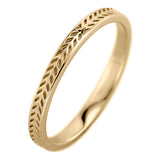 Eco Friendly Chevron Wedding Band, 14K Yellow Gold