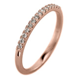 14k Rose Gold Half Eternity White Diamond Wedding Band, Half Round Style - Point No Point Studio - 1