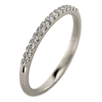 14k White Gold Half Eternity White Diamond Wedding Band, Half Round Style - Point No Point Studio - 1