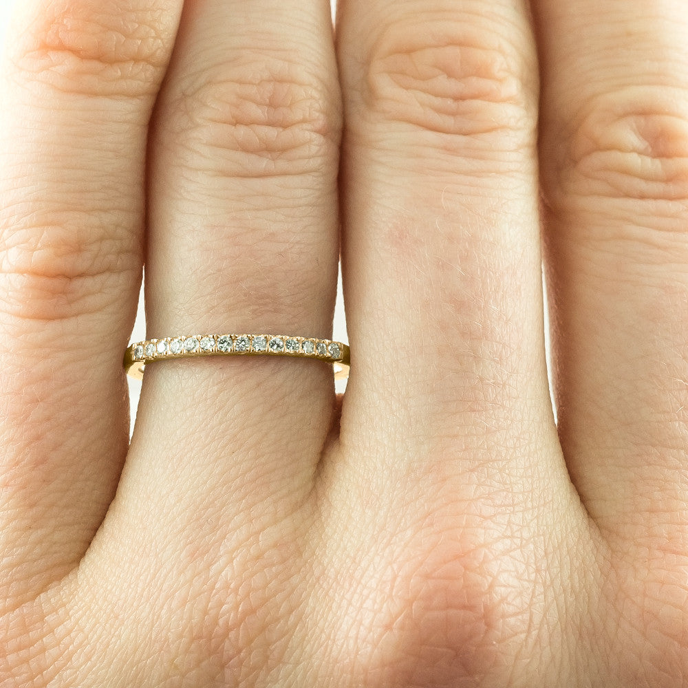 14k Yellow Gold Half Eternity White Diamond Wedding Band, Half Round Style - Point No Point Studio - 3