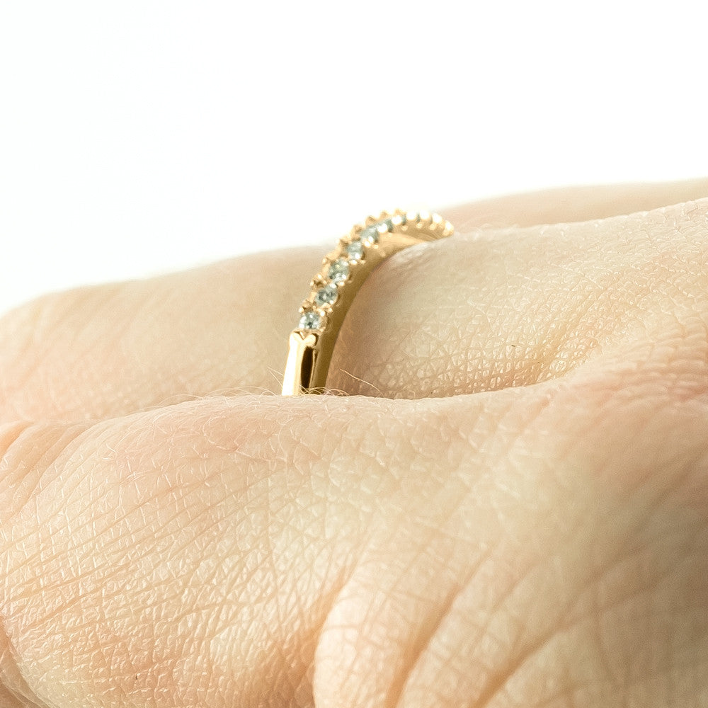 14k Yellow Gold Half Eternity White Diamond Wedding Band, Half Round Style - Point No Point Studio - 4