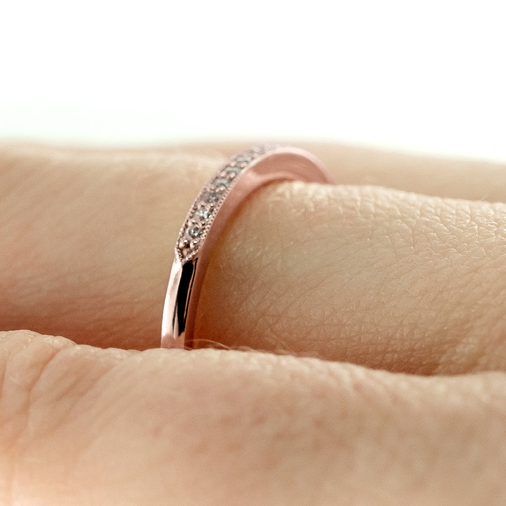 14K Rose Gold Vintage Inspired Diamond Wedding Band, Jamie Style - Point No Point Studio - 4