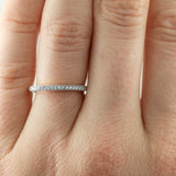 14K White Gold Vintage Inspired Diamond Wedding Band, Jamie Style - Point No Point Studio - 3
