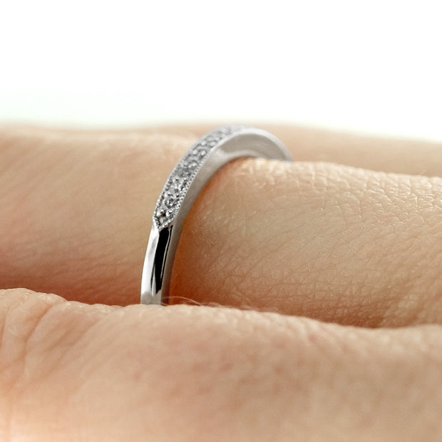 14K White Gold Vintage Inspired Diamond Wedding Band, Jamie Style - Point No Point Studio - 4