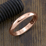 Copy of 4mm 14k Rose Gold Mens Wedding Band, Half Round Brushed Matte - Point No Point Studio - 1