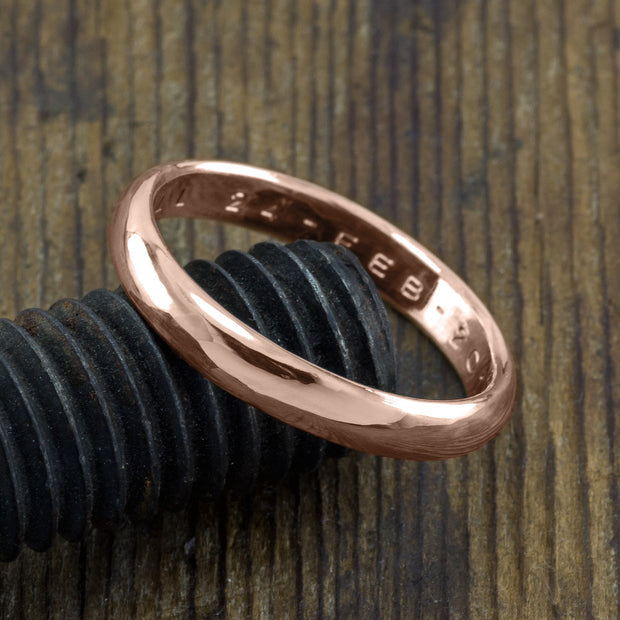 Copy of 4mm 14k Rose Gold Mens Wedding Band, Half Round Brushed Matte - Point No Point Studio - 3