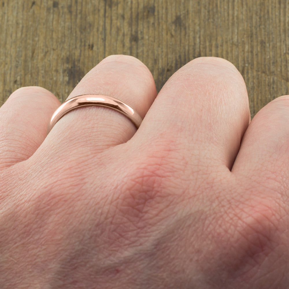 Copy of 4mm 14k Rose Gold Mens Wedding Band, Half Round Brushed Matte - Point No Point Studio - 4