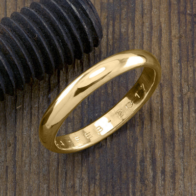 Copy of 4mm 14k Yellow Gold Mens Wedding Band, Half Round Brushed Matte - Point No Point Studio - 1