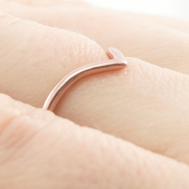 Rose Gold V Shaped Wedding Band