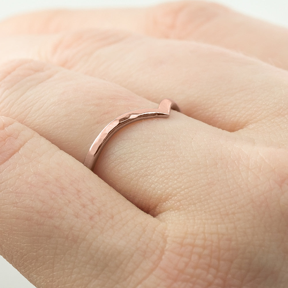 Hammered Vivian Wedding Band, 14k Rose Gold