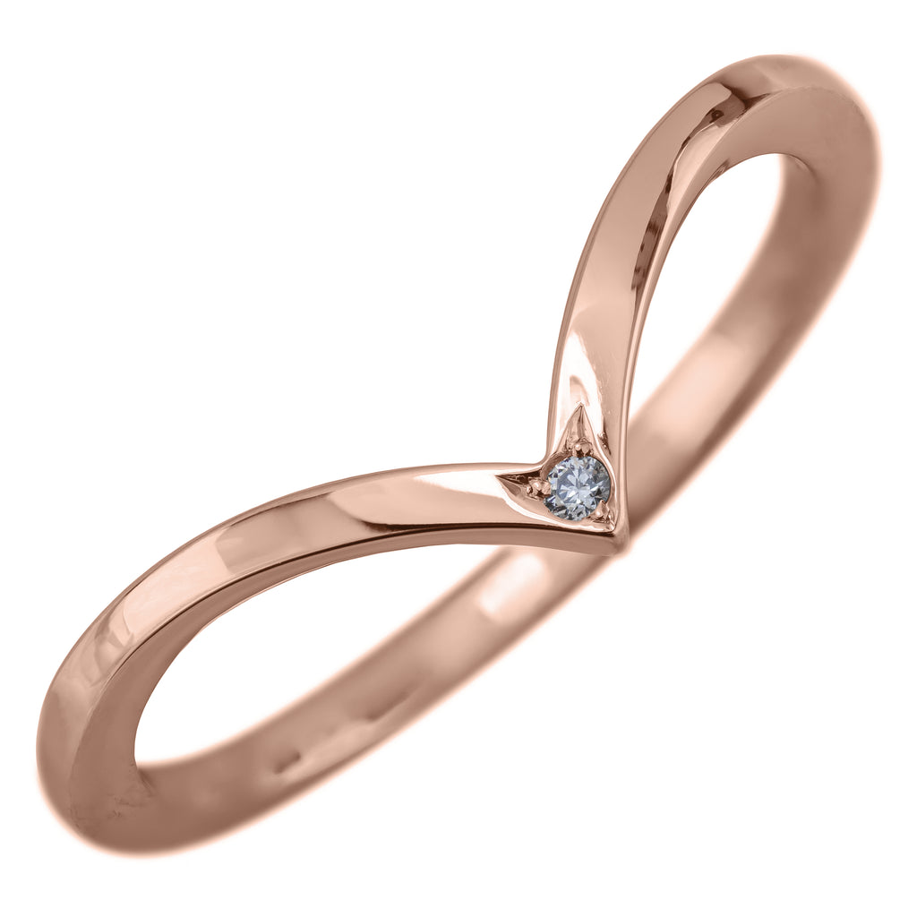 Rose Gold and Diamond Square Wedding Band