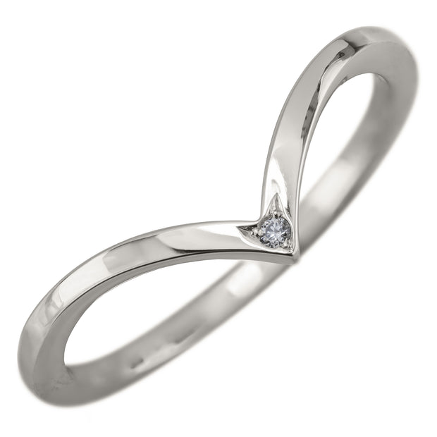 Vivian White Gold and Diamond V Shaped Wedding Ring