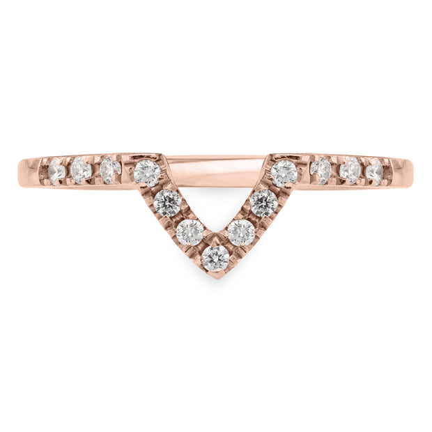 Half Eternity V Diamond Shadow Band, 14k Rose Gold