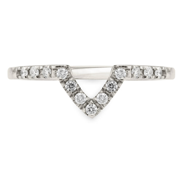 Half Eternity V Diamond Shadow Band, 14k White Gold