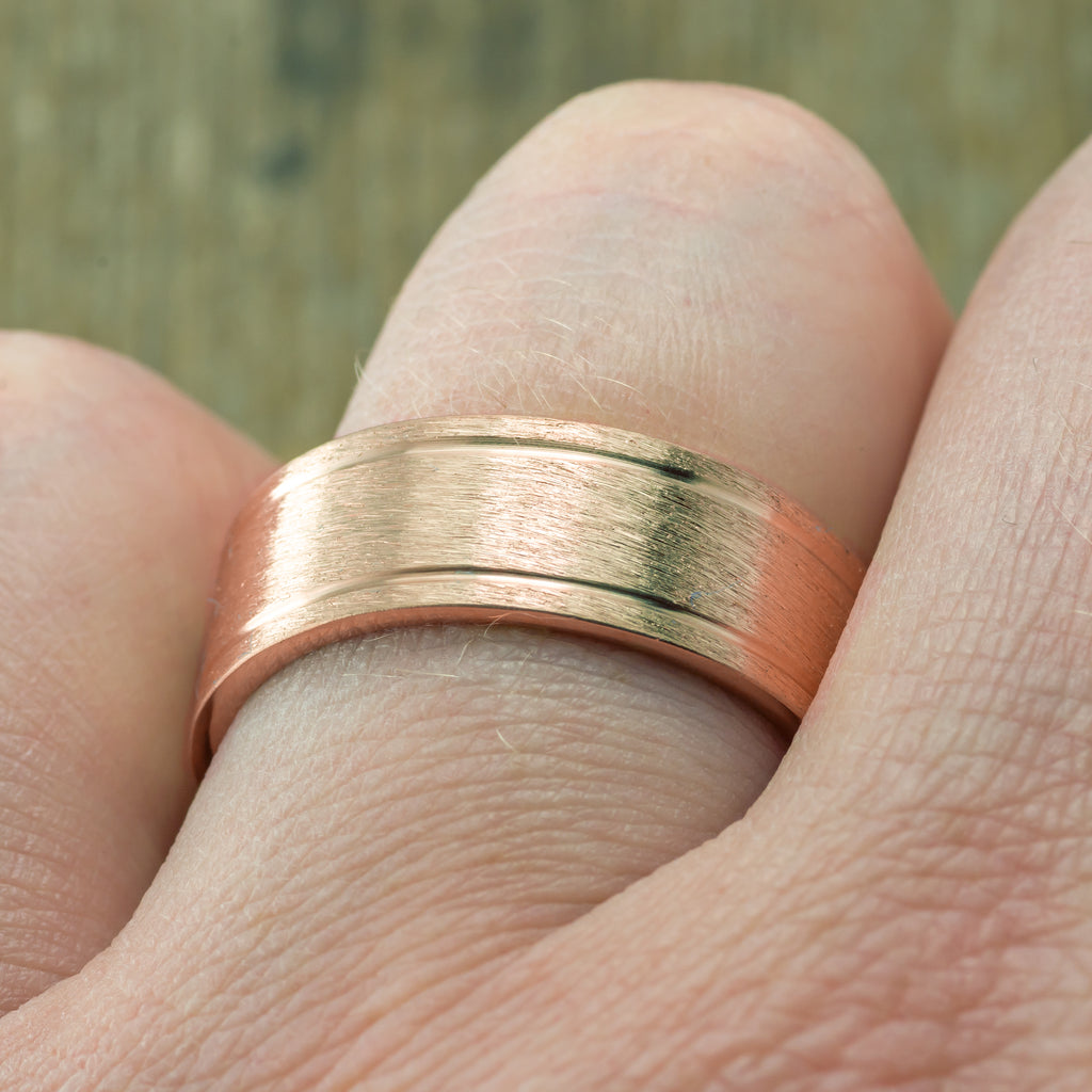 Rose Gold Double Channel Wedding Band