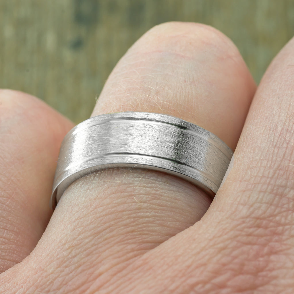 8mm 14K White Gold Mens Double Channel Wedding Ring, Brushed Matte
