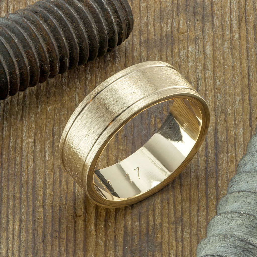 8mm 14K Yellow Gold Mens Double Channel Wedding Ring, Brushed Matte