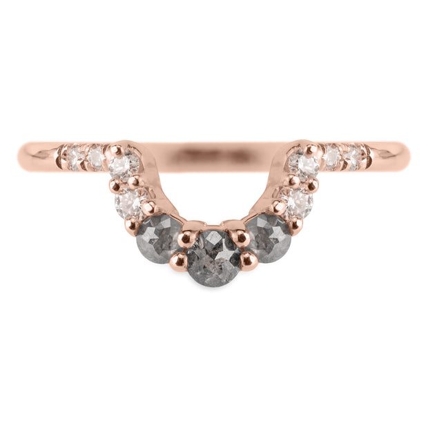 Salt and Pepper Diamond Gwen Wedding Ring, 14k Rose Gold