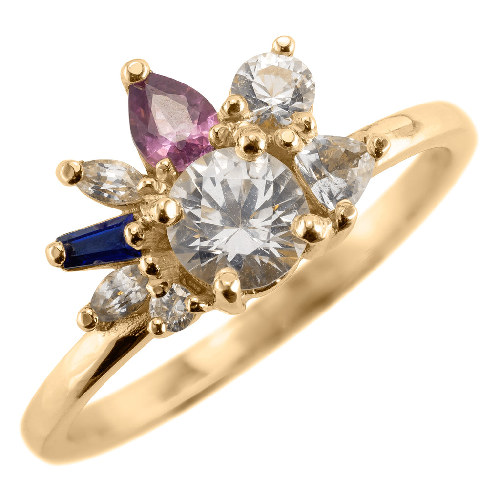 Sapphire Confetti Setting Engagement Ring, 14k Yellow Gold