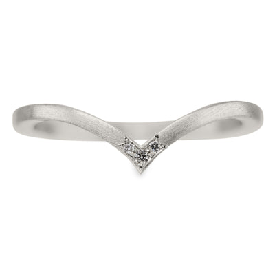 Triple Diamond Square Vivian Wedding Band, 14k White Gold