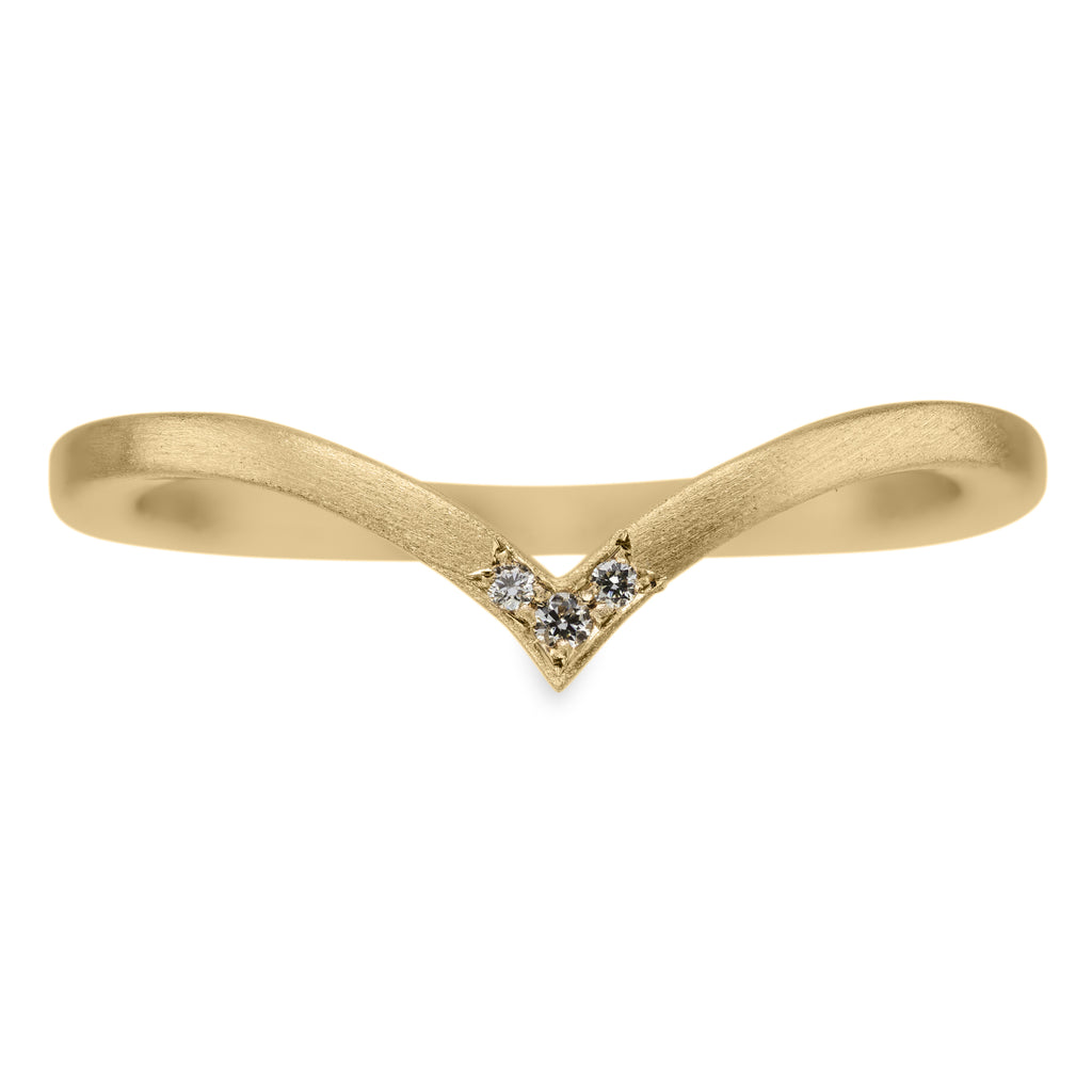 Triple Diamond Square Vivian Wedding Band, 14k Yellow Gold