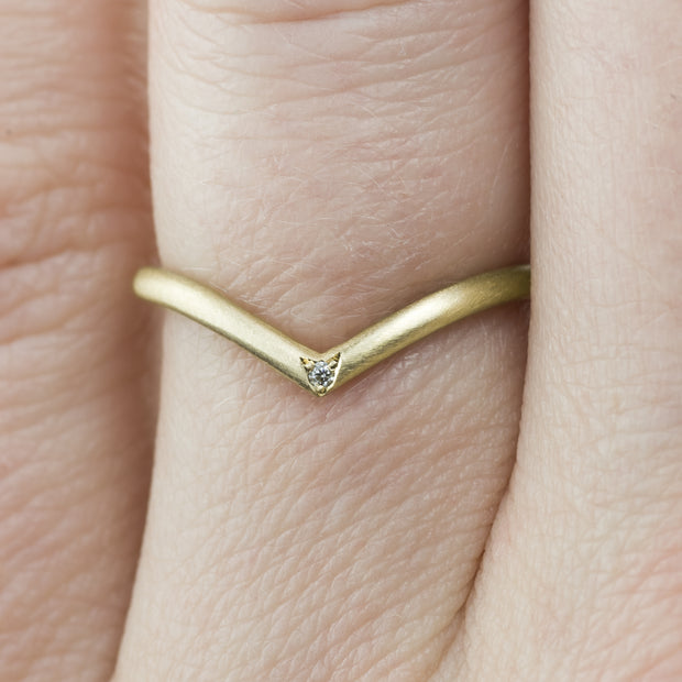 Diamond and 14k Yellow Gold Wedding Band