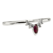 Diamond And Ruby Basket Contour Band, Small Etta Setting, 14k White Gold