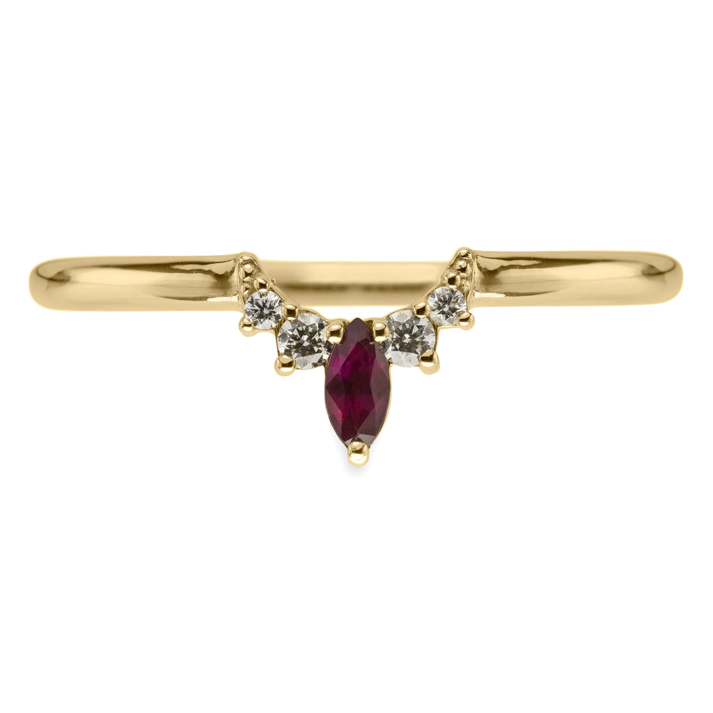 Small Etta diamond and ruby basket contour band, 14k Yellow Gold