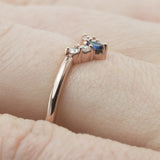 Small Etta sapphire and diamond basket contour band, 14k Rose Gold