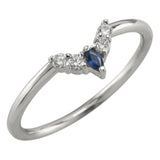 Small Etta sapphire and diamond basket contour band, 14k White Gold