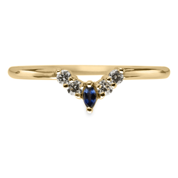 Small Etta sapphire and diamond basket contour band, 14k Yellow Gold