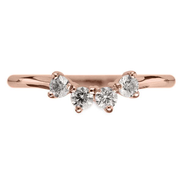 White Diamond Ursa Contour Wedding Ring, 14k Rose Gold