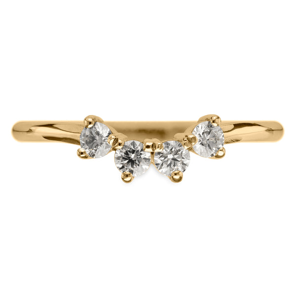 White Diamond Ursa Contour Wedding Ring, 14k Yellow Gold