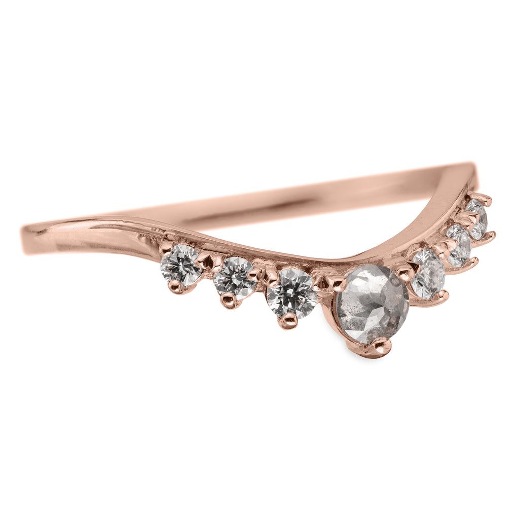 Quinn Diamond Contour Wedding Ring, 14k Rose Gold