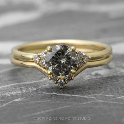 .94 Carat Salt & Pepper Diamond Engagement Ring, Petite Quinn Setting, 14K Yellow Gold