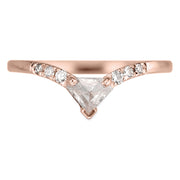 .38 Carat Shield Diamond Victoria Wedding Ring, 14k Rose Gold