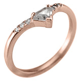.38 Carat Shield Diamond Victoria Wedding Ring Set, 14k Rose Gold