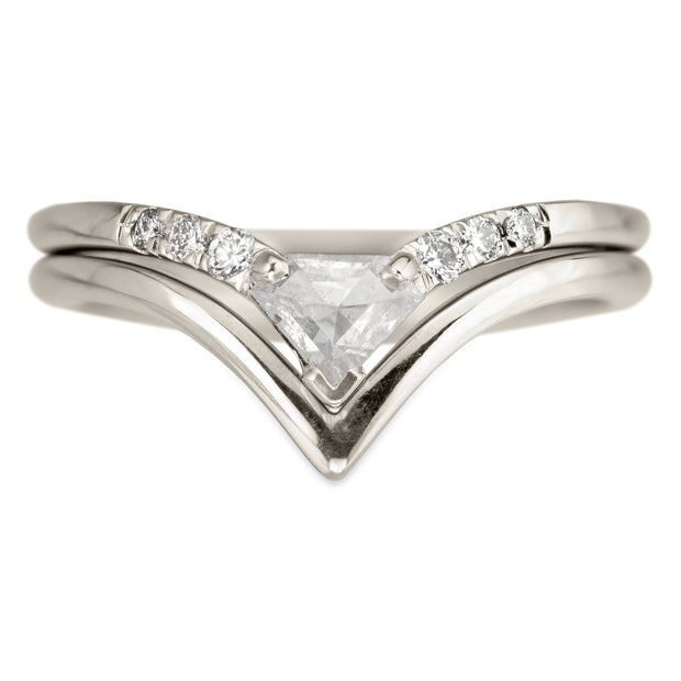 .38 Carat Shield Diamond Victoria Wedding Ring, 14k White Gold