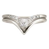 .38 Carat Shield Diamond Victoria Wedding Ring Set, 14k White Gold