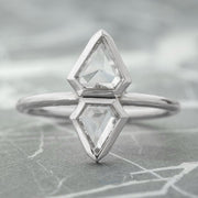 1.16 Carat Geometric Diamond Engagement Ring, 14K White Gold