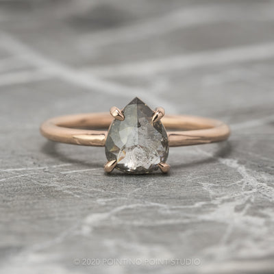 1.02 Carat Black Speckled Pear Diamond, Jane Setting 14k Rose Gold